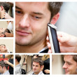Collage of a young man at the hairdresser - Stockfoto