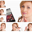 Collage of a young woman getting made up - Foto de Stock