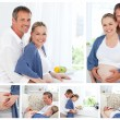 Stock Photo: Collage of pregnant couple indoors