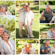 Collage of a mature couple in a park — Stok fotoğraf