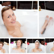 Collage of a woman in a bathtube — Stock Photo