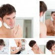 Collage of a young man shaving — Stock Photo