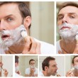Collage of a handsome man shaving — Stock fotografie