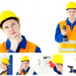 Collage of a young contractor - Stock Photo