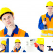 Stock Photo: Collage of young contractor