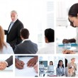 Foto Stock: Business attending to meetings