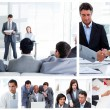 Collage of business communicating — Stockfoto