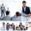 Collage of business communicating — Stock Photo #10600117