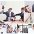 Collage of happy business — Stockfoto