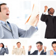 Collage of victorious businessmen — Stock Photo