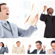 Stock Photo: Collage of victorious businessmen