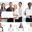 Collage of business holding signs — Stock Photo