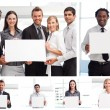 Collage of business holding signs — Stock Photo #10600134