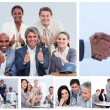 Collage of business in several situations — Stock Photo