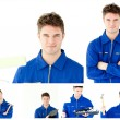 Collage of a young man tinkering - Stockfoto
