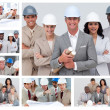 Collage of friendly construction — Stockfoto