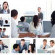 Collage of business using technology — Stok fotoğraf