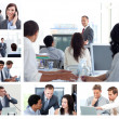Photo: Collage of business using technology