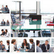 Collage of business meetings — Foto de Stock