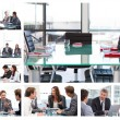 Collage of business meetings — Stok fotoğraf