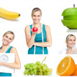 Foto Stock: Collage about healthy lifestyle