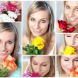 Collage of  a woman with several type of flowers — Stock Photo