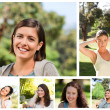 Collage of young women in a park — Stock Photo