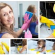 Collage of a woman washing her bathroom - Stockfoto