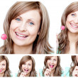 Royalty-Free Stock Photo: Collage of a young woman eating a lollipop