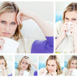 Collage of a young sick woman - Stock Photo