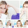 Stock Photo: Collage of a young sick woman