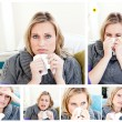 Collage of a woman having a cold - Stock Photo