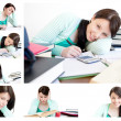 Collage of a young woman studying - Stockfoto