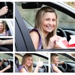 Collage of a young driver in her car - Stock Photo