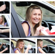 Stock Photo: Collage of young driver in her car
