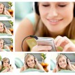 Collage of a cute woman listening to music — Stock Photo #10600253