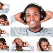 Collage of a young man listining to music - Stock fotografie