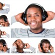 Collage of a young man listining to music — Stock Photo