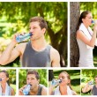 Collage of a young couple drinking water after the gym — Stock Photo