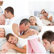 Collage of husbands giving a soft kiss to their pregnant wife — Stock Photo
