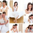 Collage of couples hugging after a positive pregnancy test - Stock Photo
