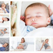 Stock Photo: Photos of pregnant women surrounding baby