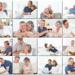 Collage of elderly couples hugging and relaxing — Stock Photo