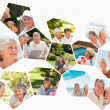 Collage of different elderly couples spending time together — Stock Photo
