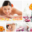 Collage of a beautiful woman relaxing while receiving a massage - Stock Photo
