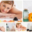 Collage of a pretty blond woman relaxing - Stock Photo