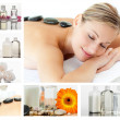Collage of a beautiful blond woman relaxing - Stock Photo