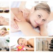 Collage of a beautiful blond woman receiving a massage — Stock Photo #10601221