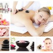 Collage of an attractive blond woman relaxing - Stock Photo