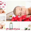 Collage of a charming blond woman relaxing - Stockfoto